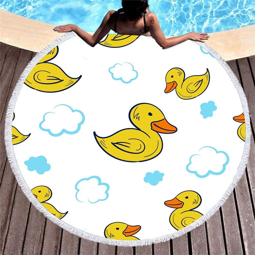 Desenhos animados pouco amarelo pato toalha de praia acampamento ao ar livre redondo microfibra toalha de banho 3d impressão toalha de praia bens domésticos