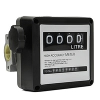 1Pcs Fm-120 4 Digital Gasoline Fuel Petrol Oil Flow Meter Four Digital for Fuel Oil Flow Meter Counter