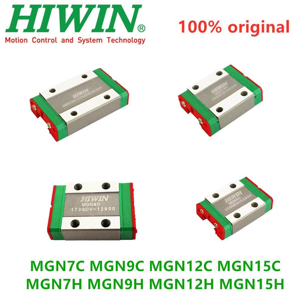 4 Uds original Hiwin lineal mini bloques de carruajes MGN7C MGN9C MGN12C MGN15C MGN7H MGN9H MGN12H MGN15H para CNC guía lineal