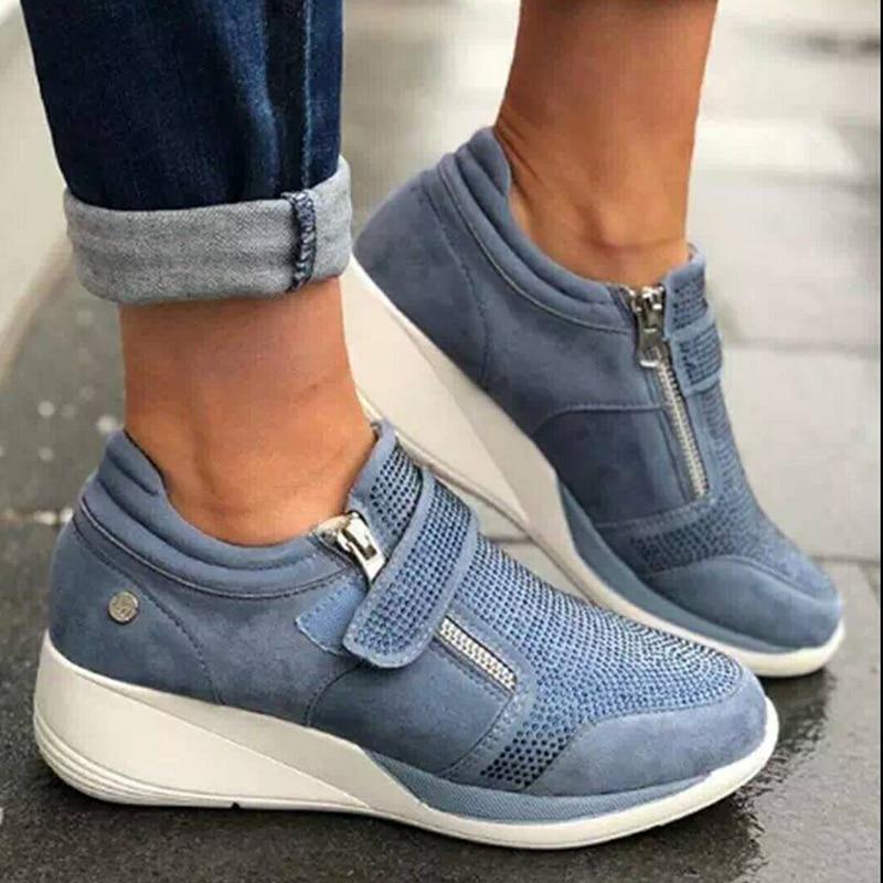 Wedges Shoes Woman Sneakers Zipper Platform Trainers Women Shoes Casual Lace-Up Tenis Feminino Zapat