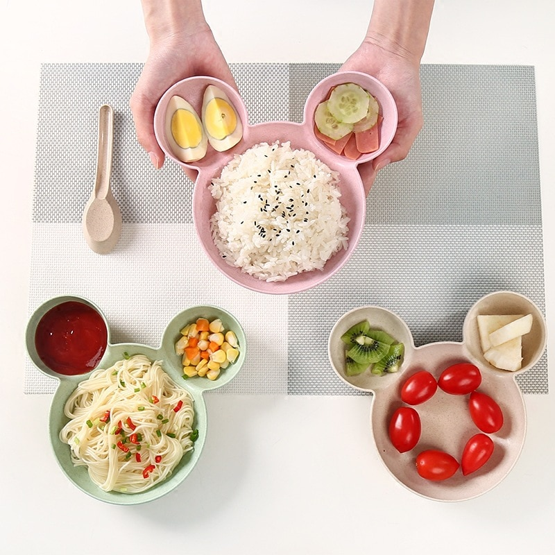 Wheat Stalk Children's Bowl Cartoon Rice Bowl Shatter-resistant Grid Snack Bowl Baby Eating Tableware Children's Tableware Plate