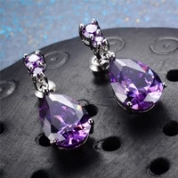 luxury water drop earrings colour gem purple zircon cocktail party women crystal dangle drop earrings wedding band women jewelry