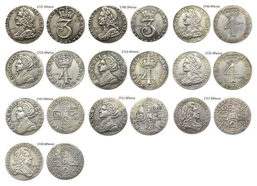 Reino Unido un conjunto de (1710-1740) 3/4/6 peniques 10 Uds shilling-george I Moneda de copia chapada en plata británica