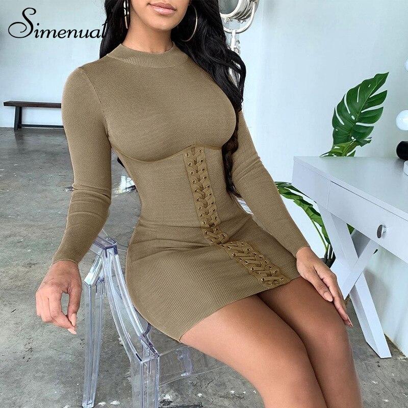 Simenual Mode Herfst Lange Mouwen Vrouwen Bodycon Jurk Sexy Skinny 2019 Knop Mini Jurken Solid Grey Basic Slanke Vrouwelijke Doek