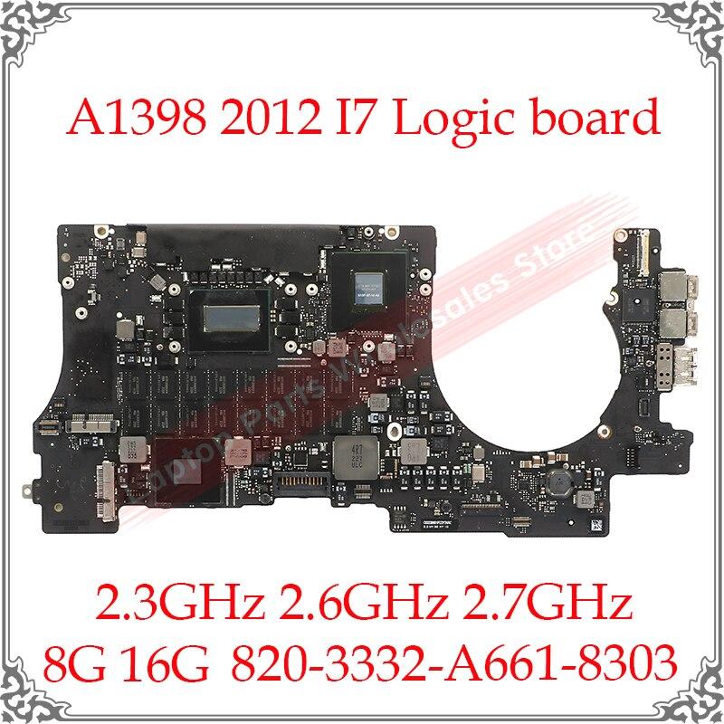 "Placa lógica A1398 661-8303, placa base, 8G, 16G, 15 "", para Macbook Pro, A1398, 2012, 820-3332-A, I7, 2,3 GHz, 2,6 GHz, 2,7 GHz"