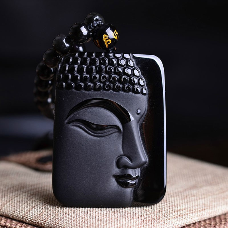 Piedra obsidiana Natural moda cristal colgante Buda cabeza COLLAR COLGANTE regalo para...