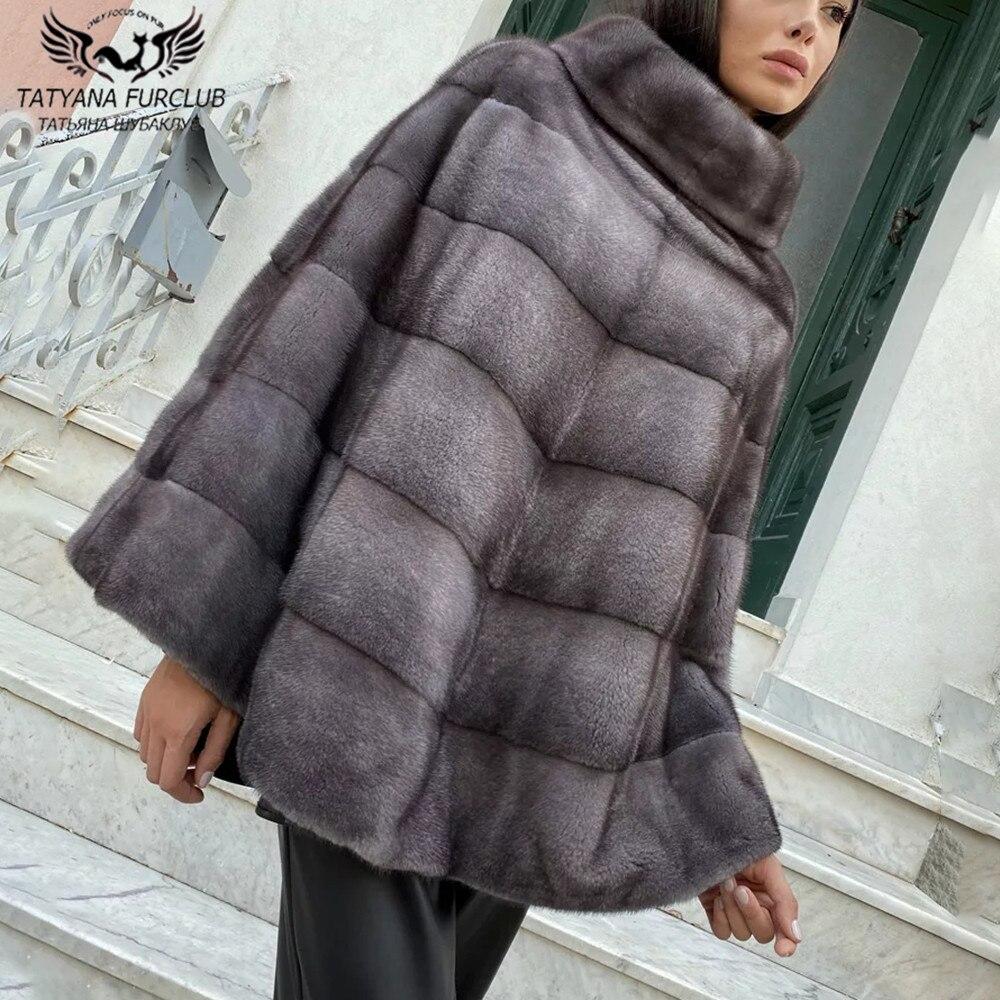 2021 جديد شتاء حقيقي فرو منك معطف امرأة عالية الجودة حقيقية جلد كامل فرو منك Ponchos و الرؤوس حجم واحد الفراء أبلى المرأة