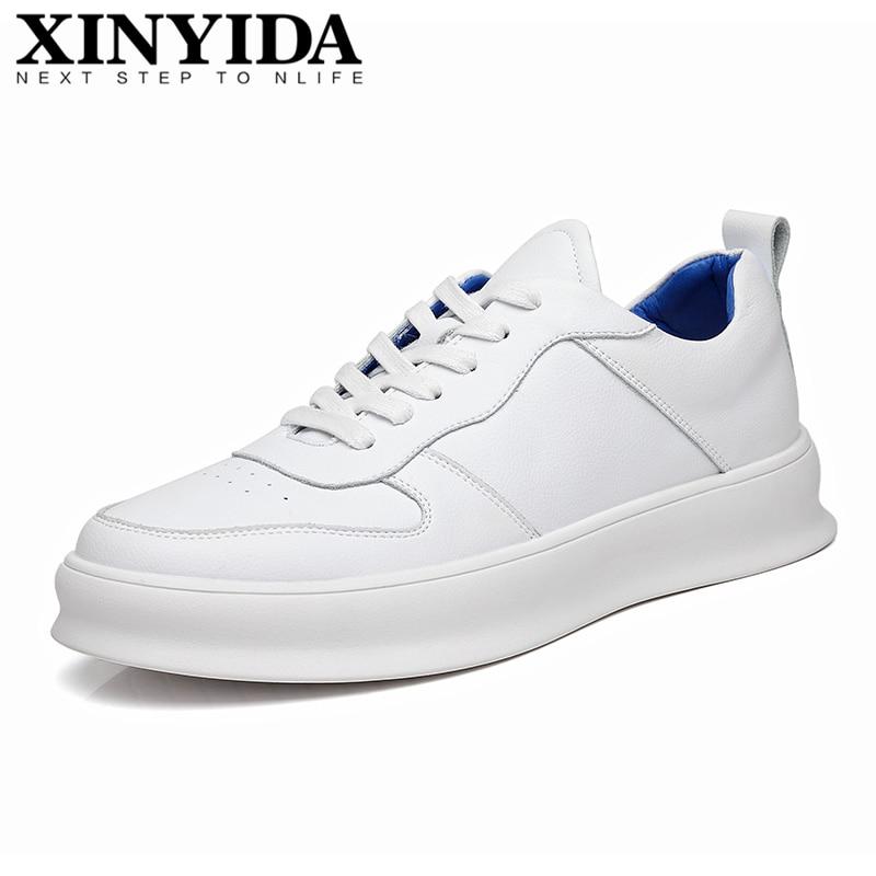 XINYIDA de cuero genuino para hombre zapatos planos con cordones zapatillas casuales transpirables zapatos blancos zapatos de moda para hombres zapatos de skate Size38-44