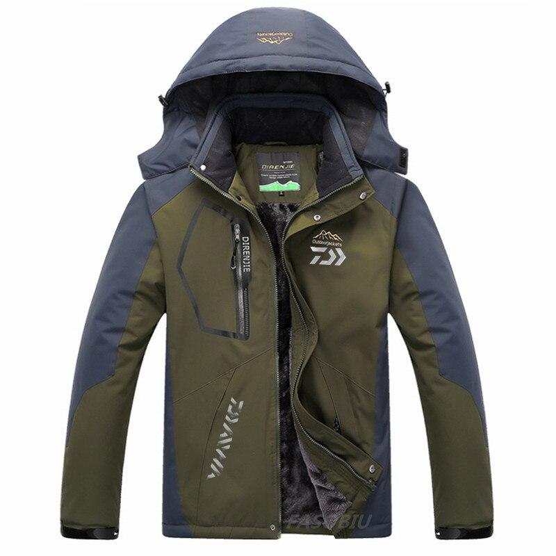 Daiwa Jacket Men Women Plus Velvet Warm Thick Windproof Fishing Jacket 2021 Winter Outdoor for Sports Fishing Clothing Plus Size