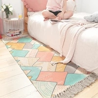ins japanese style cotton hand woven thicken bedside carpet friendly home bedroom room long fringed non slip mat