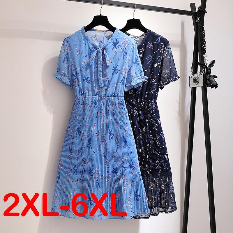 Summer Bow Collar  High Waist Dress Big Plus Size Printed Floral Elegant Office Ladies Chiffon Tunic Midi