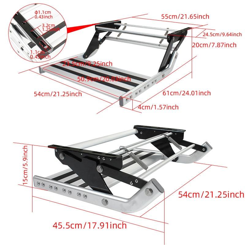 HEYRV High Strength Anti-slip Manual Pull Out Single Step with LED Light Folding Aluminum Caravan Trailer Camper RV Step enlarge