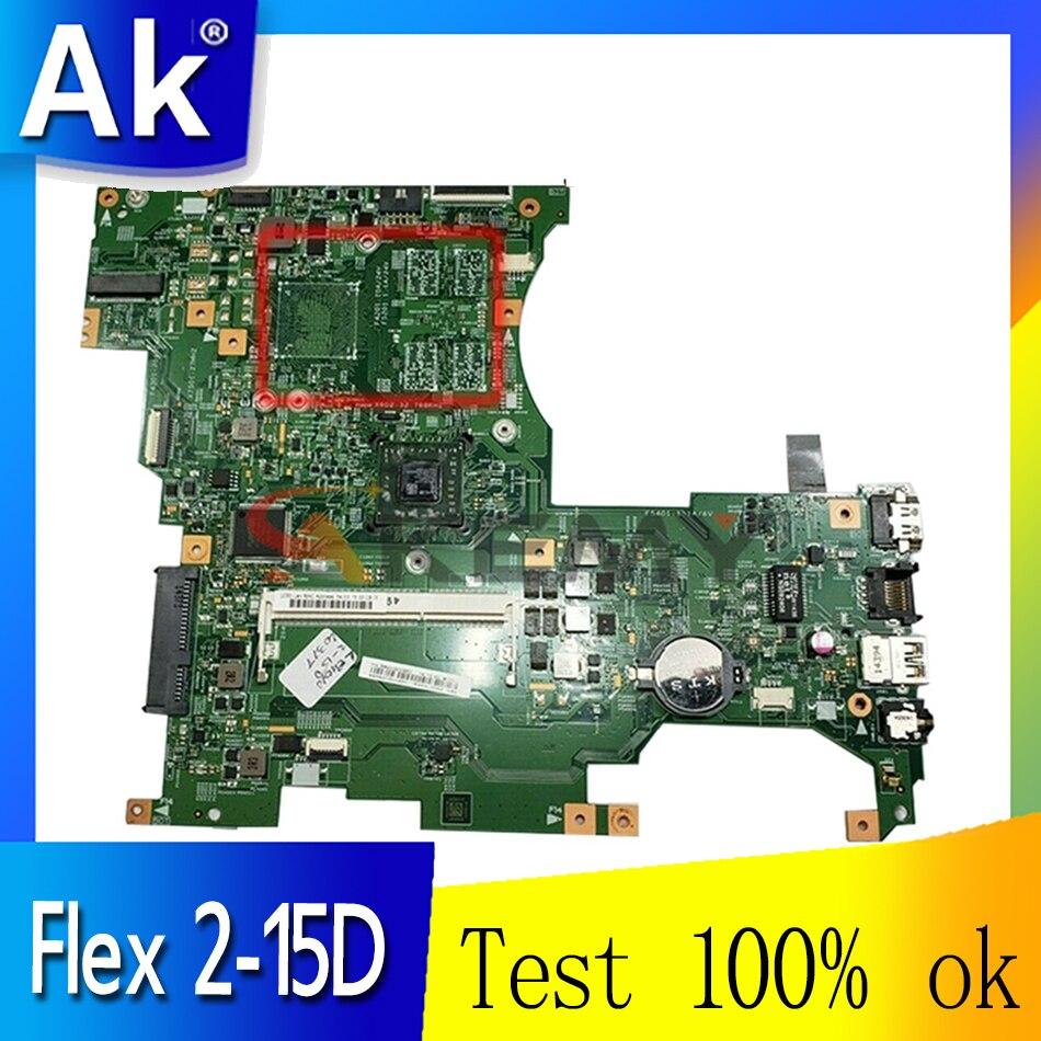 Akemy 448.01001.0011 اللوحة الأم للكمبيوتر المحمول لينوفو Ideapad فليكس 2-15D اللوحة الرئيسية DDR3 يعمل