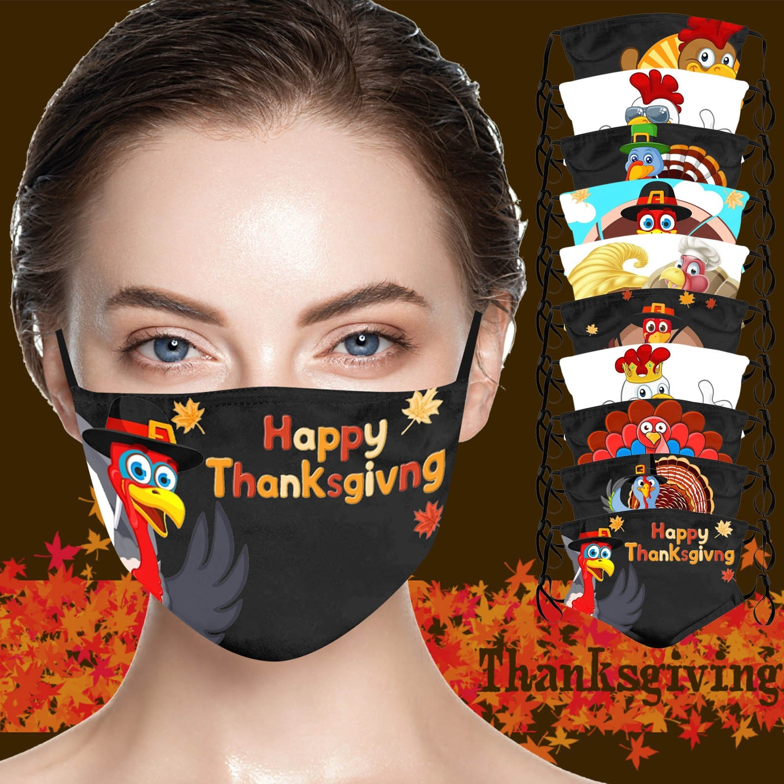 Thanksgiving Printed Adult Washable Funny Turkey Print Mask With Filter Outdoor Party Family Holiday Face Masks Mascarilla маска