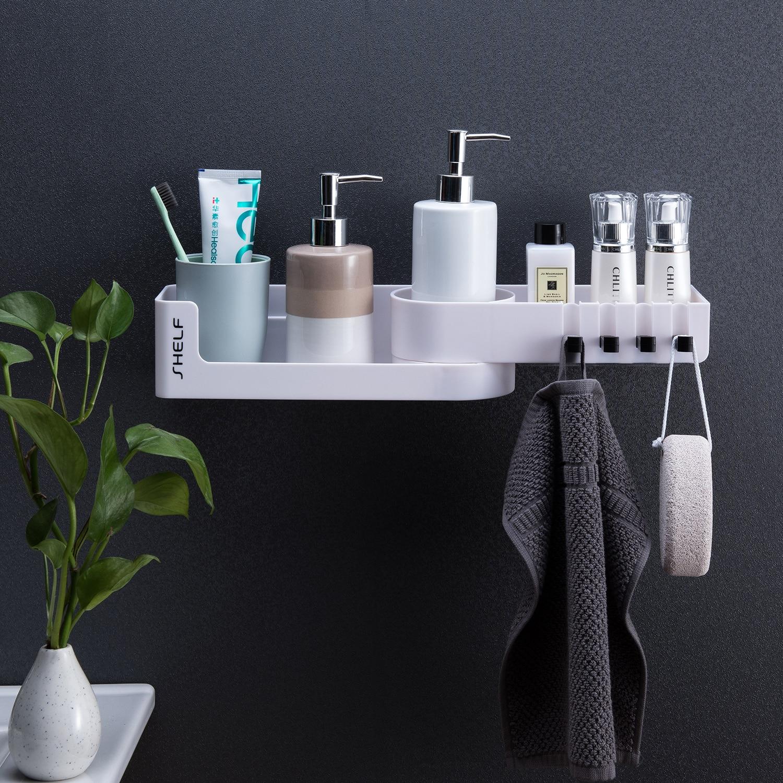 Corner Bathroom Organizer Shelf Shampoo Cosmetic Storage Rack Wall Mounted Kitchen Shelf Household Items Bathroom Accessories