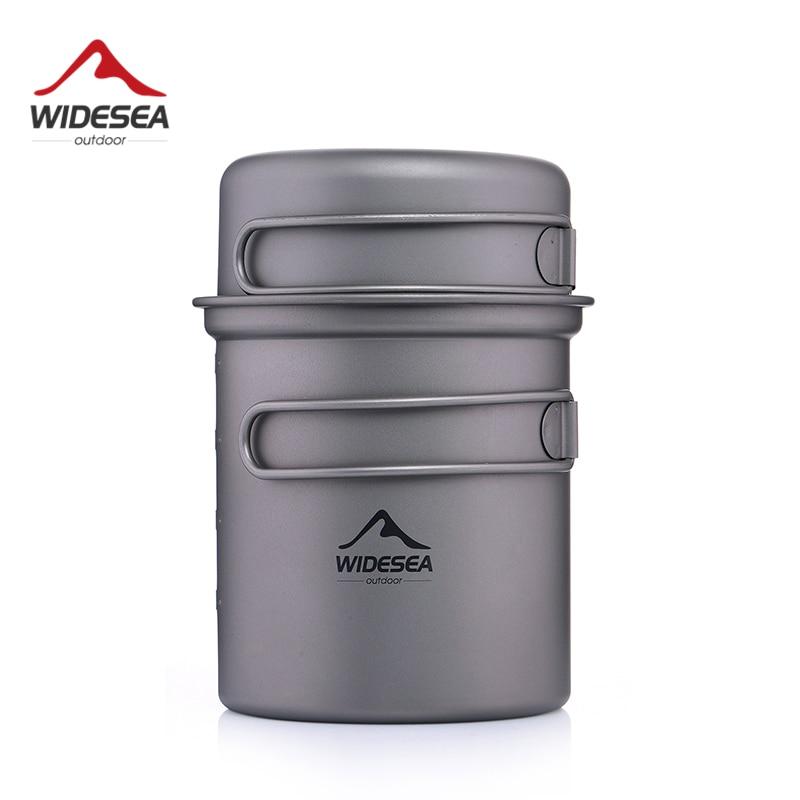 Widesea Титановая посуда для кемпинга, набор для приготовления пищи на открытом воздухе, походный туристический набор