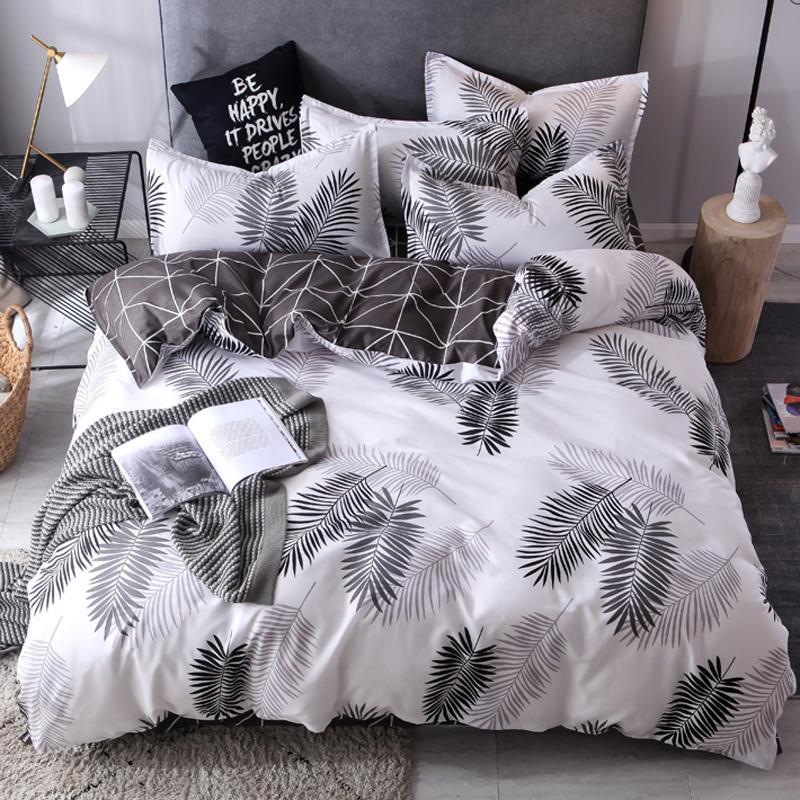 55  Nordic Style Bedding Set Leaves Pattern Duvet Cover Set Flat Sheet Pillowcase Bedclothes Bed Linen Set Euro For Adult
