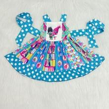 new arrival girl sleeveless twril frocks girl summer princess dress with dot belt girl cute cartoon printed dress