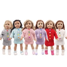 Doll Color Button Sweater Skirt Fit 18 Inch American Doll And 43cm Baby New Born Doll,Our Generati