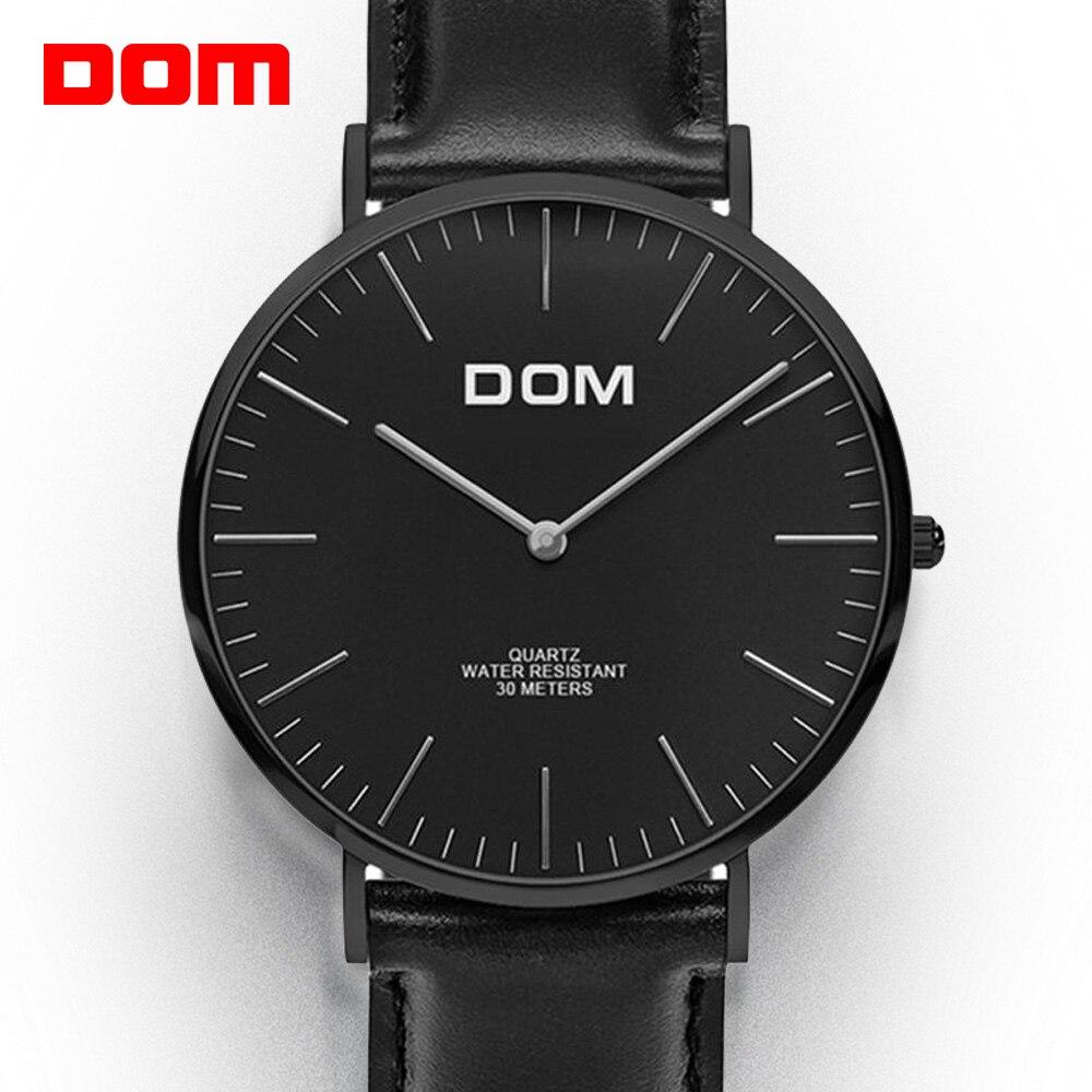 مشاهدة الرجال DOM العلامة التجارية الفاخرة كوارتز ساعة عادية كوارتز ساعة جلدية شبكة حزام رقيقة جدا ساعة الذكور Relog M-36BL-1M