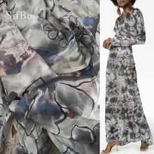 Luxury floral print 100% silk chiffon fabric for dress pure natural silk tissu tecidos stoffen telas 6mm SP4719 FREE SHIPPING