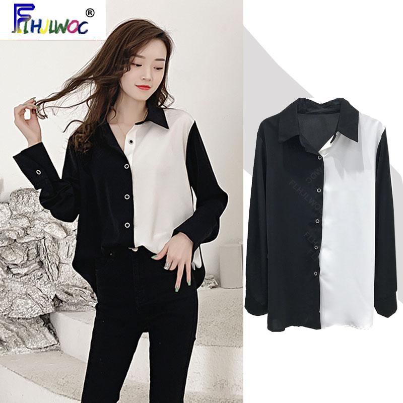 Blusas básicas de primavera otoño 2020 para mujer, blusas elegantes de manga larga para oficina, camisas blancas de retazos suelto negras para novio