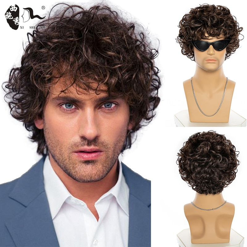 XISHIXIU HAIR Yong Men Short Curly Synthetic Wig Ombre Brown Wig for Men's Hair Daily Realistic Natural Wigs