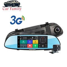 Dashcam construido en WiFi GPS Bluetooth FM función coche DVR Android 5,0 3G 7 pulgadas cámara de espejo retrovisor doble lente registrador de coche