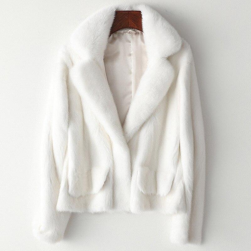 عالية الجودة الأبيض كله فرو منك معطف عادي الإناث سترة مضادة للرياح سليم بلون الحرير بطانة أبلى ملابس الشتاء الأصفر
