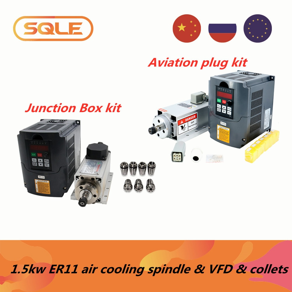 EU warehouse CNC Machine Tool Spindle 1500w 1.5kw 24000RPM ER11 air cooling motor & huanyang VFD & & 7 pcs ER11 collets(1-7mm)