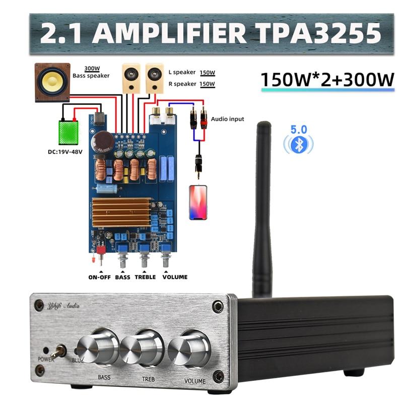 HIFIDIY آلة المنتج النهائي 2.1 مضخم الصوت مكبر الصوت TPA3255 الصوت 150 واط * 2 + 300 واط الفرعية أمبير بلوتوث مستقل 5.0