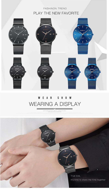 BIDEN Luxury Women Watch Causal Female Clock Stainless Steel Waterproof Hardlex Lady Slim Wristwatches Gift Valentine's Day Gift enlarge