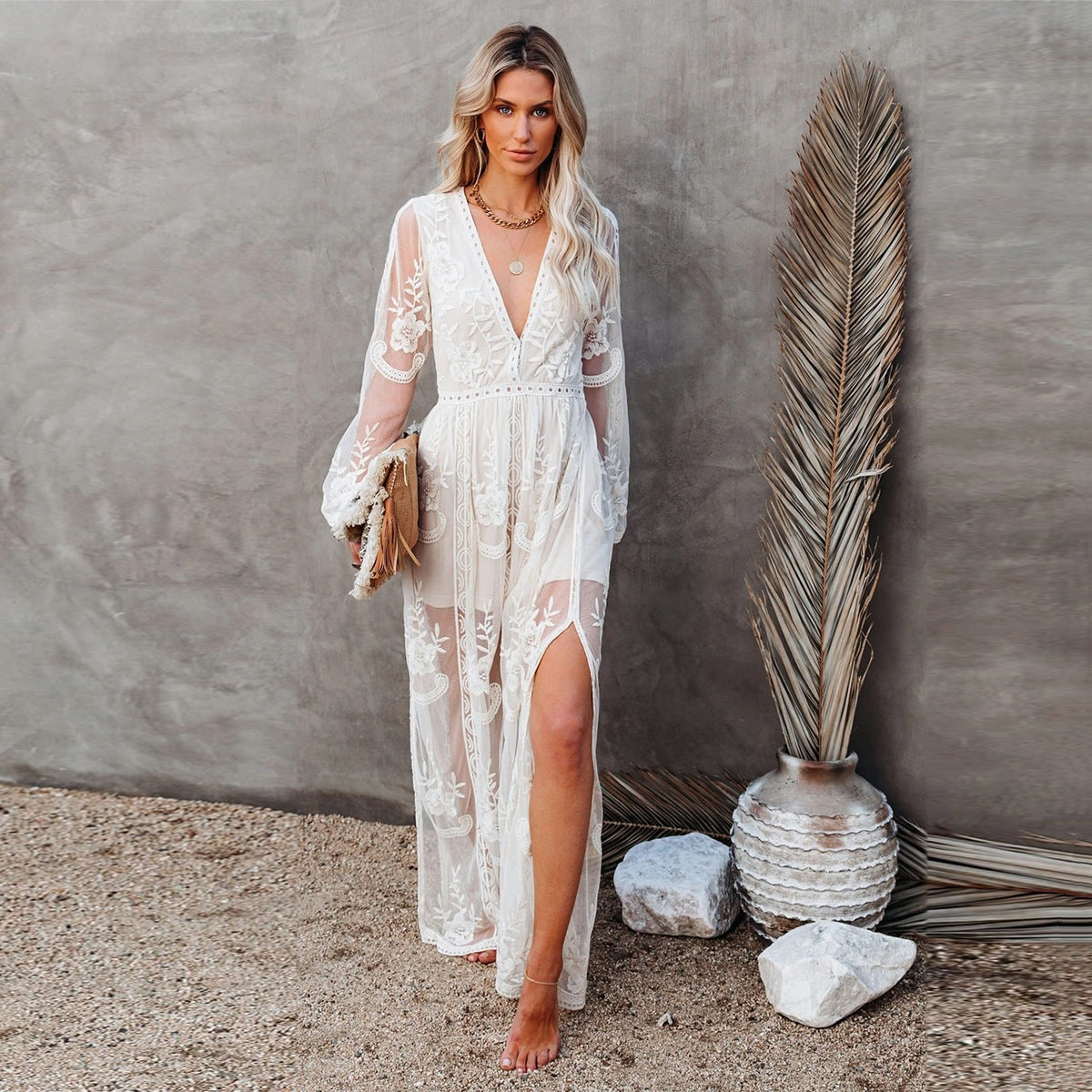 New Lace Embroidery Patchwork Maxi Dress Woman Long Sleeve Deep V Neck Sexy Dresses Ladies Boho Bohemian Hippie Vestidos Mujer
