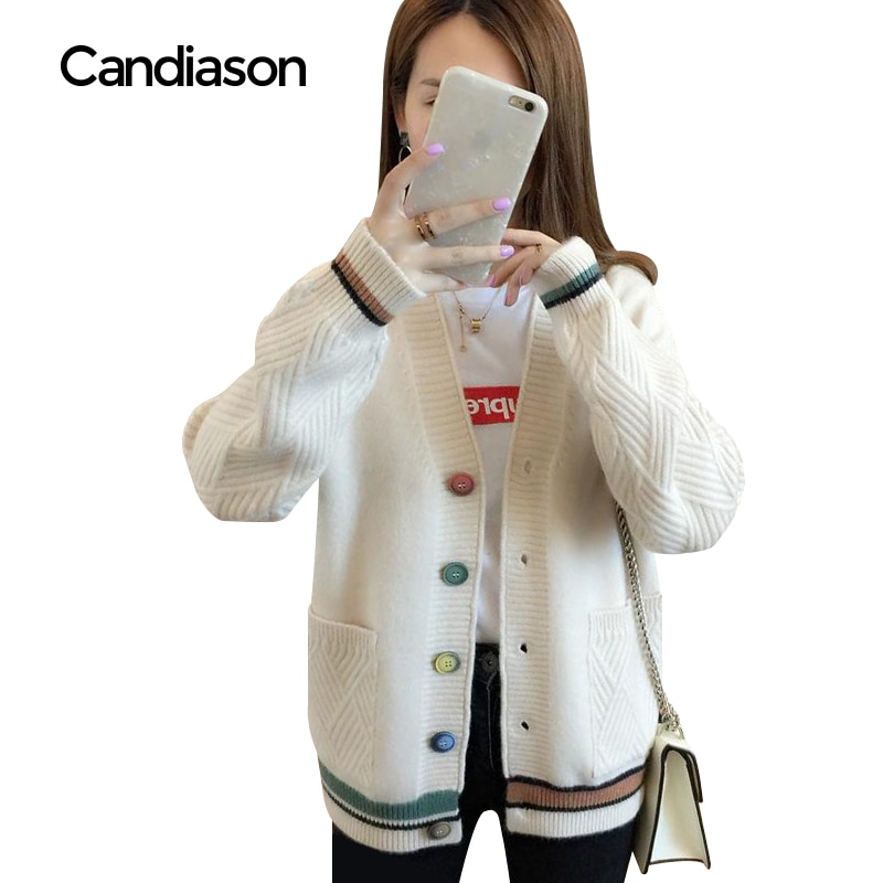 Cardigan Sweater Women 2020 new Autumn Winter V-Neck Warm Clothes Pull Femme Hiver Streetwear Casual Loose Knitted