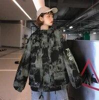 harajuku denim jacket oversized camo winter print jacket women spring autumn fashion hooded two tone windbreaker nn50jk