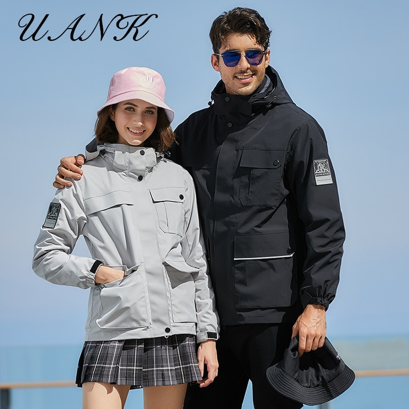 2021 Autumn And Winter Ladies Fashion Trend Outdoor Hiking Three-In-One Two-Piece Waterproof Couple Jacket Men's Windbreaker