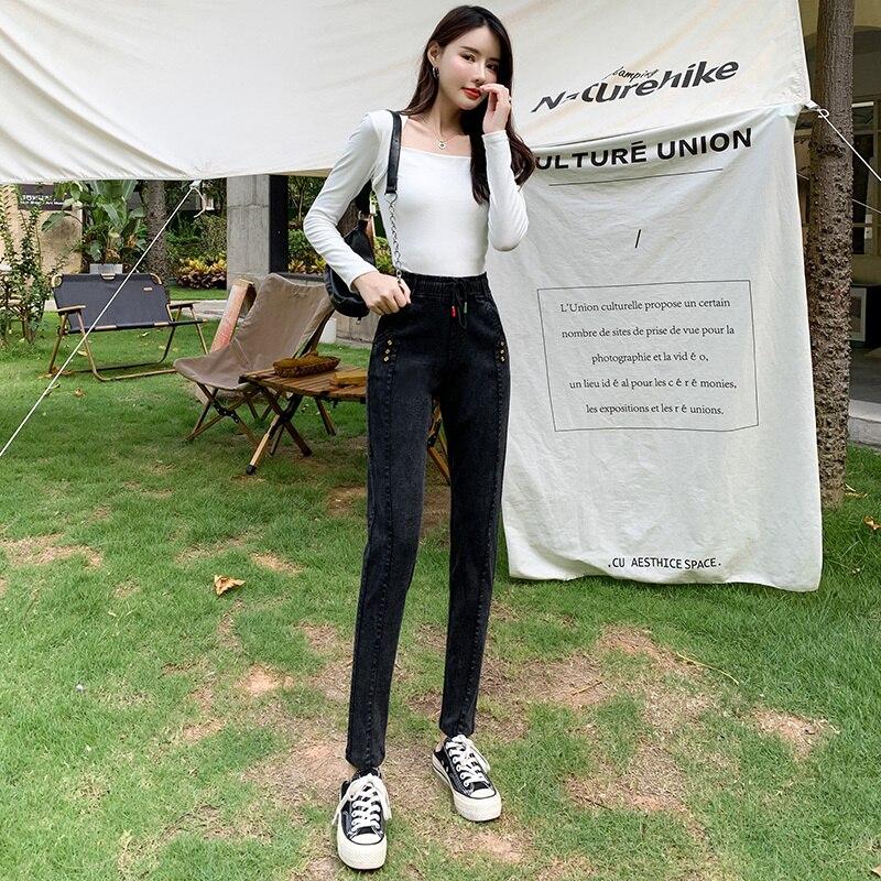 Real Shot High Waist Jeans Women's Autumn Clothing 2021 New
