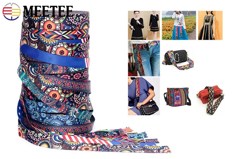 Купить с кэшбэком Meetee 5Meters 38mm Fashion Print Ethnic Jacquard Webbing Bags Strap Belt Ribbon DIY Textile Clothing Decor Sew Accessory