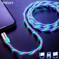 Магнитный зарядный кабель Micro USB Type-C со светодиодной подсветкой, провод для передачи данных для iphone, Samsung, Huawei, Мобильный usb-кабель для зарядки