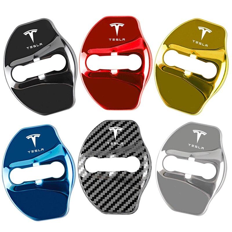 4 шт. Автомобильный Дверной замок Пряжка защитное покрытие ржавчины металлическая наклейка для Tesla модель 3 модели Y логотип знак Европейски...