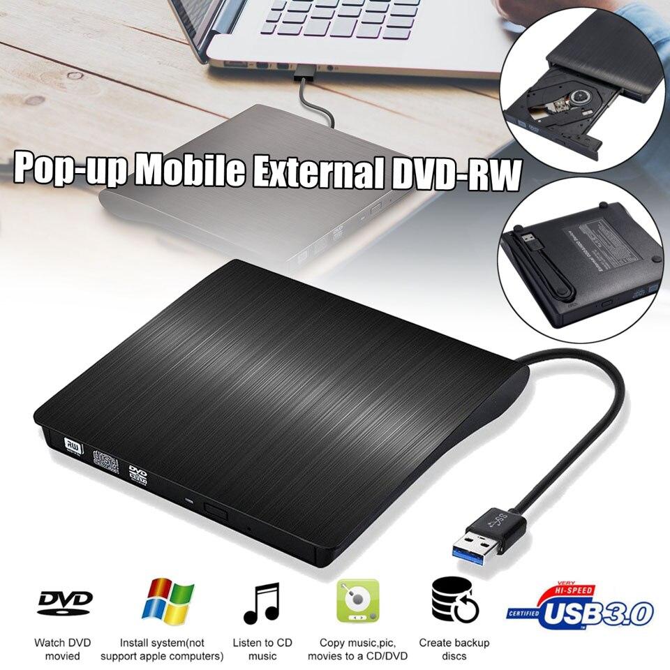 USB externo 3,0 DVD RW CD escritor Delgado carbón grano unidad lector reproductor para PC portátil unidad óptica