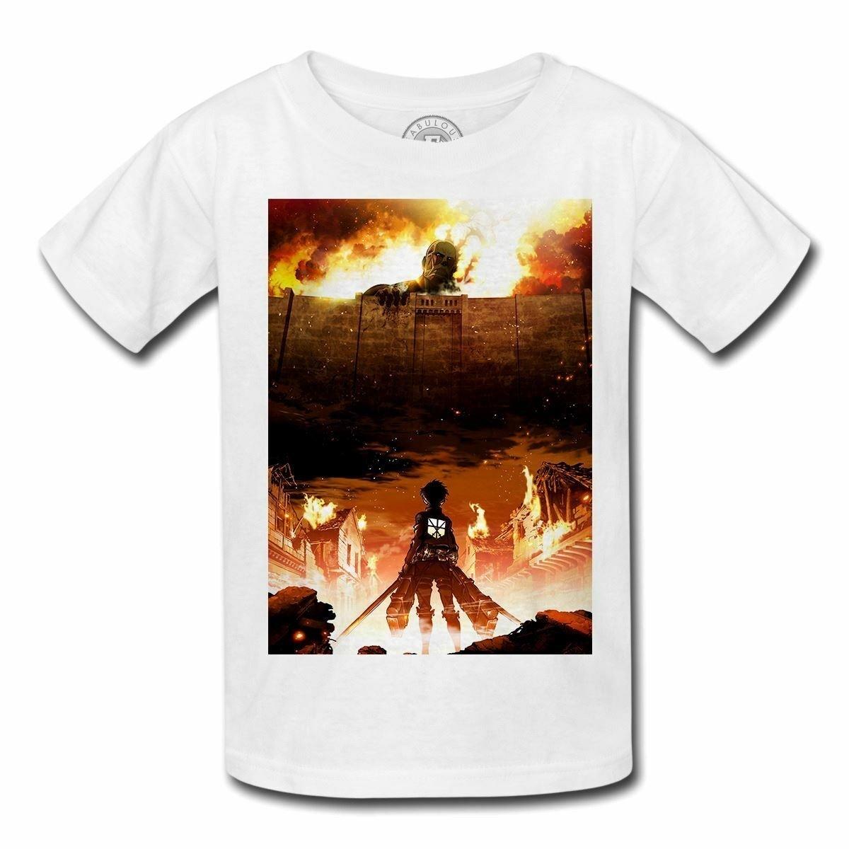 Camiseta enfant attaque des titants shingeki nenhum kyojin mangá japon monstres