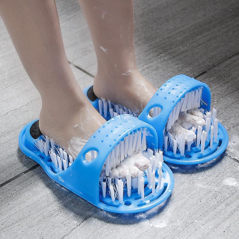 Zapatillas de baño con cepillo para lavarse los pies, 1 par, para hombre y mujer, cepillo de baño para ducha y pies desmontable, masajeador de piel muerta