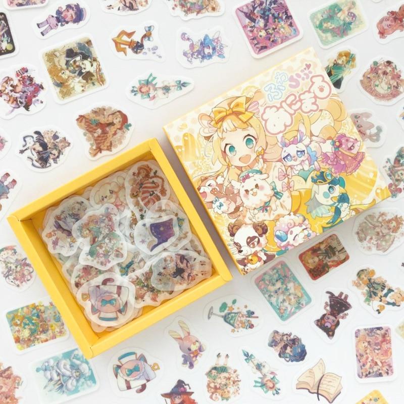 200 unids/pack chica mágica serie caja de papelería pegatinas Scrapbooking DIY álbum diario Stick