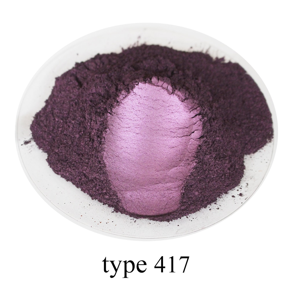 Polvo de Mica pigmento perla polvo brillo perlado pintura acrílica para arte coche pintura jabón sombra de ojos tinte 50g Tipo 417 rosa violeta