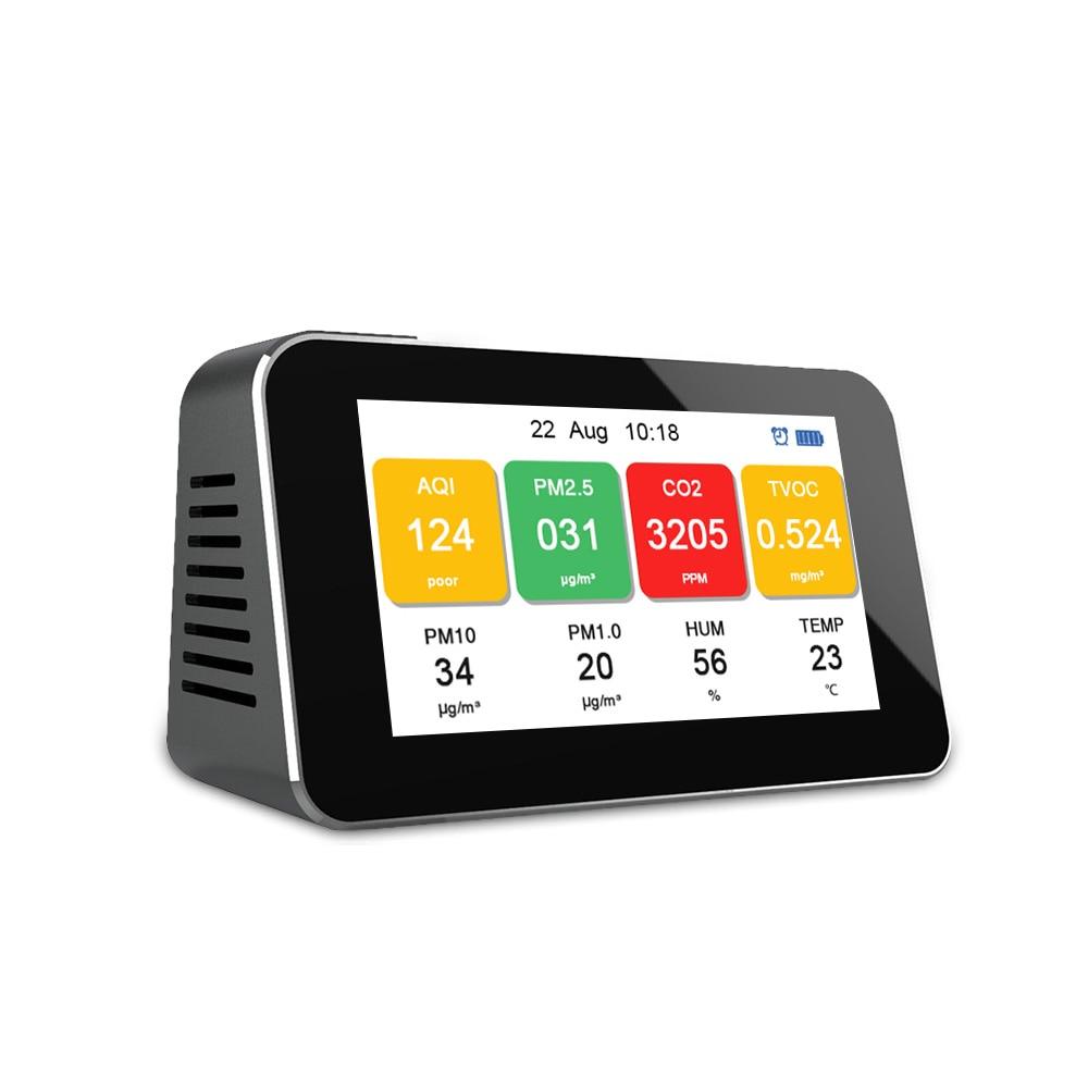 متعددة وظيفة شاشة الكريستال السائل رصد نوعية الهواء Co2 متر PM2.5 PM1.0 PM10 CO2 TVOC الجسيمات كشف رصد الغبار متر