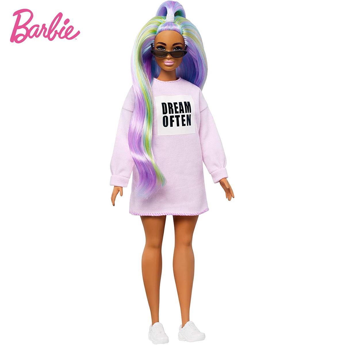 Muñeca Barbie de moda con pelo largo de arcoíris, vestido y accesorios...
