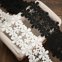 2ylot lace ribbon flower embroidered accessories black white lace trim fabric for sewing diy handmade craft border decoration