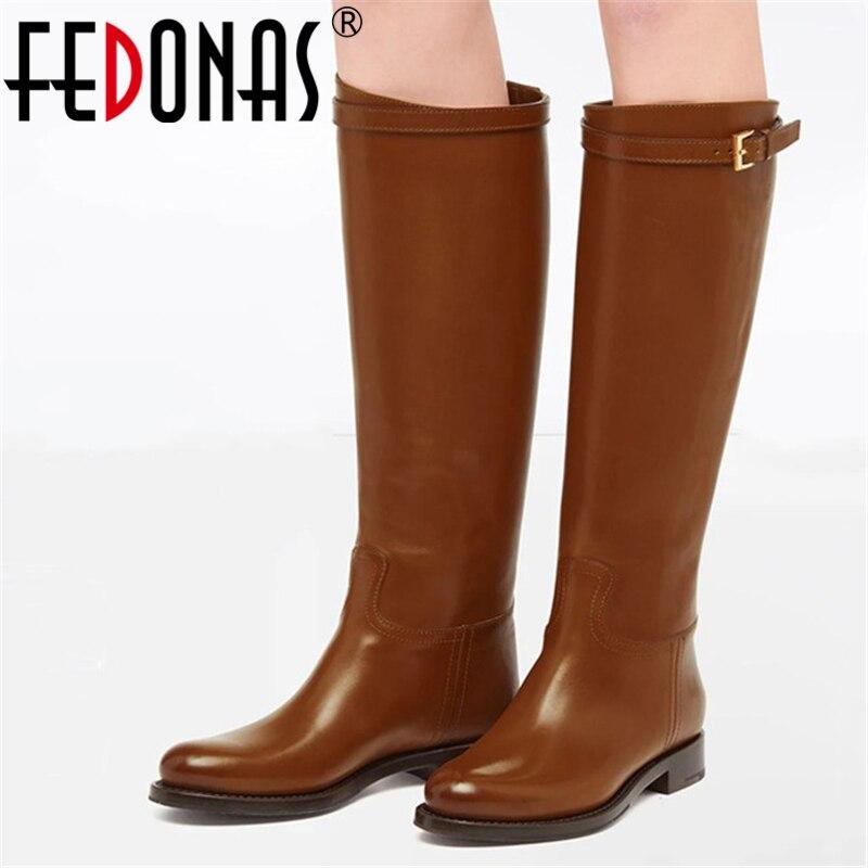FEDONAS ماركة جلد طبيعي النساء الركبة أحذية عالية منخفضة الكعب الخريف الشتاء حزب أحذية طويلة غير رسمية امرأة شعبية مشبك الموضة