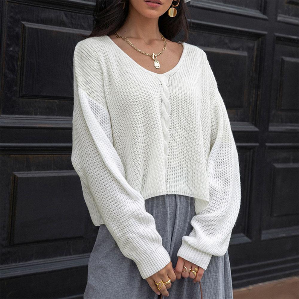 Suéter de manga larga con cuello en V para mujer, suéter de Color sólido, informal, sencillo, holgado, estilo occidental, Tops de otoño e invierno